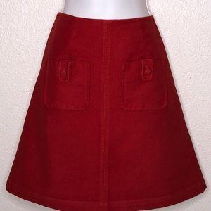 Boden Red Velour Skirt